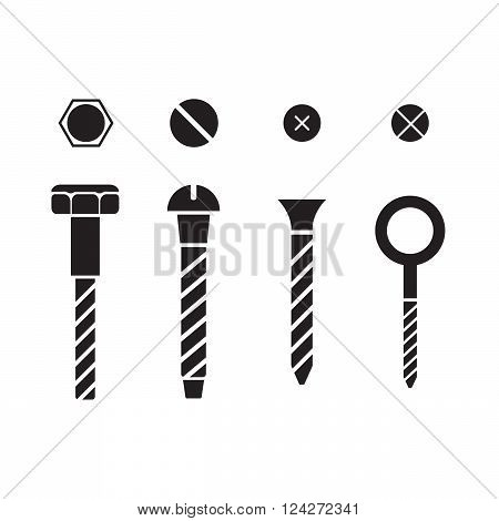Screws nuts and rivets icons set. 10 eps vector illustration