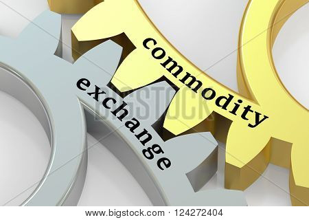 Commodity Exchange concept on the gearwheels 3D rendering