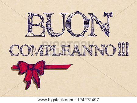 buon compleanno. happy birthday in Italian. ribbon bow