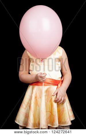 Caucasian Little Girl Hides Her Face Under Balloon