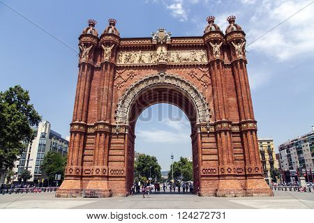SPAIN, BARCELONA, JUNE, 27, 2015 - Arch of Triumph is an arch in the manner of a memorial or triumphal arch in Barcelona, Catalonia, Spain. It was built as the main access gate for the 1888 Barcelona World Fair by architect Josep Vilaseca i Casanovas