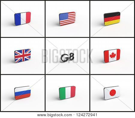 group of eight g8 group of seven g7 flags 3d