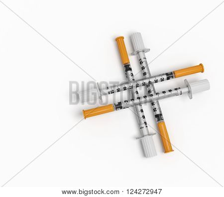 medical syringes medical cross health background treatment insulin vaccinations hospital 3d