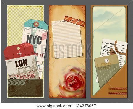 Vintage Travel Banners - Set of summer holiday banners with ephemera, luggage travel tags, library card, and scraps of paper, for backgrounds, promotional material, scrapbooks and flyers