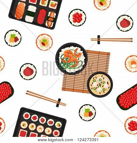 Japanese Food. Sea Food. Sushi Background. Seamless Pattern. Sushi with Different Rolls Soup and Rice. Vector illustration. Flat style