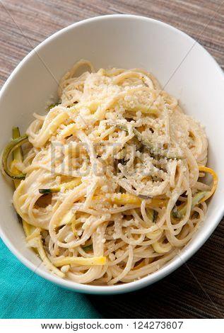 vegan zucchini pasta over gluten free noodles