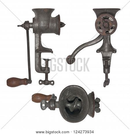 vintage meat grinder isolated on white background