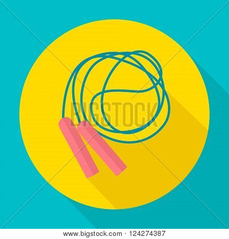 Skipping rope. Skipping rope icon flat design. Vector icons in flat design on the theme sport.  Vector fitness icon. Flat Style Icon with Long Shadow. Vector illustration.