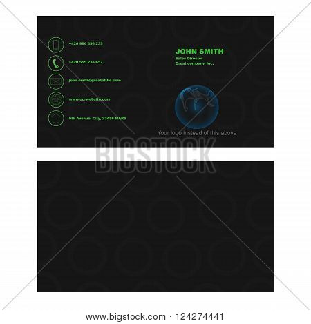 Black busines card with rounded shape on background containing phone email website and location.