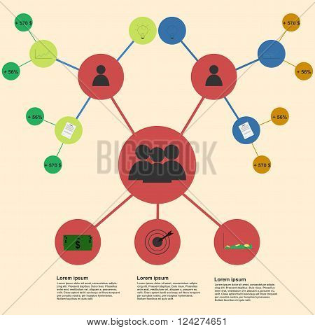 Business team infographic template. Business team infographics template. Connections infographic rounded infographics circles infographic representing business team organization or sales people in flat style colors.