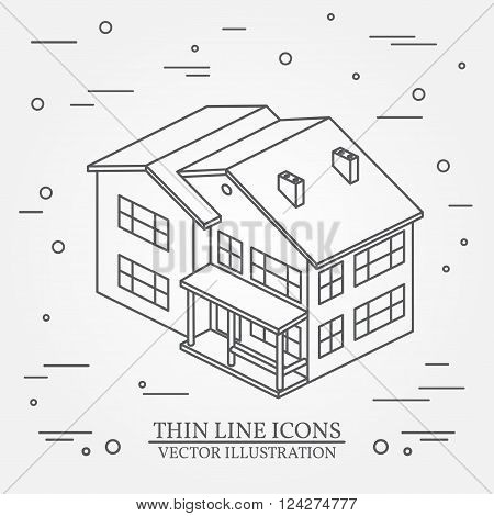 Vector Thin Line Icon Isometric Suburban American House. For Web Design And Application Interface, A