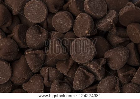 A closeup of a pile of chocolate chips.