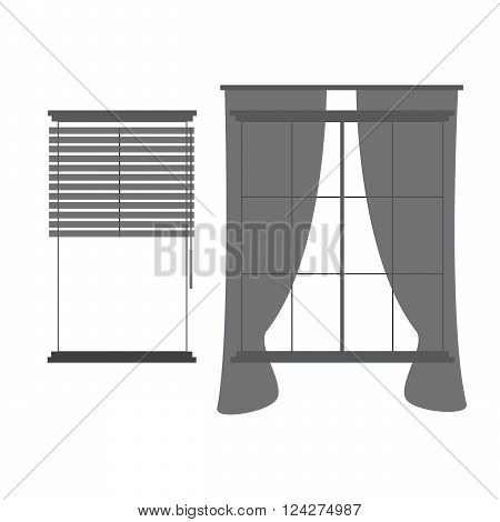 Window curtains concept. eps 10 vector illustration
