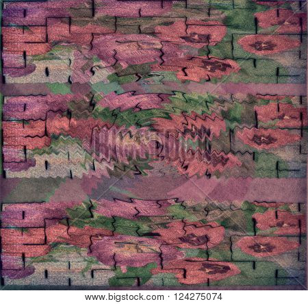 Abstract background pink purple white blocks in the middle of the funnel