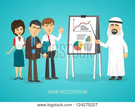 Arab in traditional arabic clothing doing presentation with flip chart to european people cartoon poster vector illustration