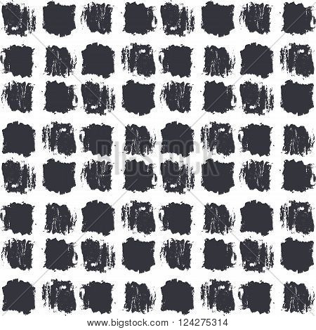 Seamless stylish pattern. Dry brush painted squares with rough edges. Trendy hipster texture. Handdrawn endless decorative backdrop. Black shapes on white background. Cloth design, wallpaper, wrapping