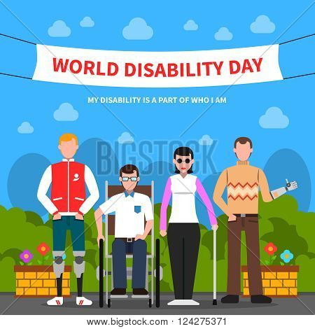 World disability day for solidarity and support flat poster design with handicapped people abstract vector illustration