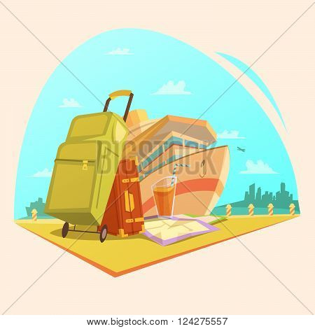 Voyage cartoon concept with cruise ship juice and suitcases vector illustration