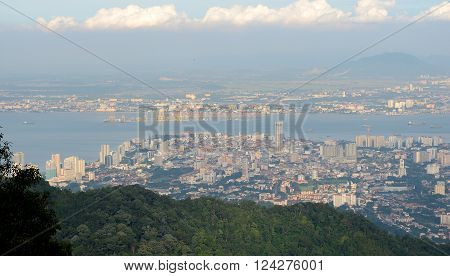 Panoramic view of Georgetown from Penang mountain top Penang Island Malaysia.