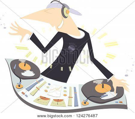 Cartoon funny DJ illustration. Smiling DJ performing electronic music