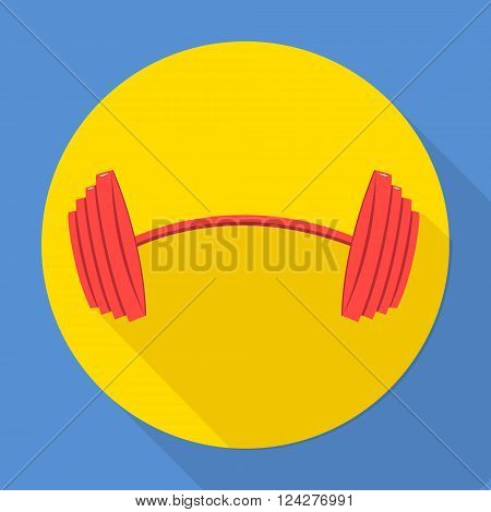 Barbell icon flat design. Vector icons in flat design on the theme sport.  Vector fitness icon. Flat Style Icon with Long Shadow.  Barbell icon art.