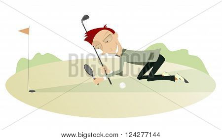 Smiling golfer on the golf course. Smiling golfer looking the best way for the ball using a loupe
