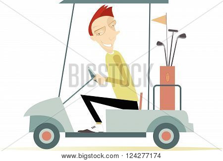 Smiling man is going to play golf in the golf cart