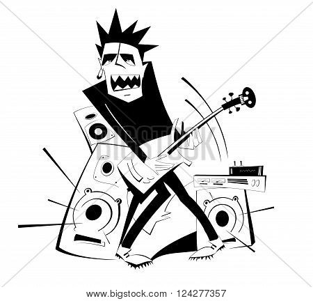 Angry guitarist plays loud music using amplifier and several speakers