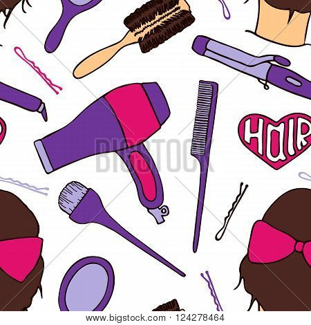 Hairdresser tools. Seamless pattern with beautician supplies - blowdryer, curler, brush, mirror, hairpin. Doodle drawing. Vector illustration - swatch inside