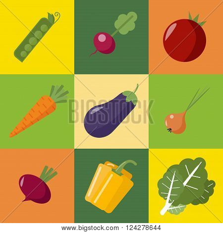 Vegetables Set. Healthy Food. Pepper Eggplant Peas Onions Radish Tomato Beet Carrot Cabbage. Flat Style. Vector illustration