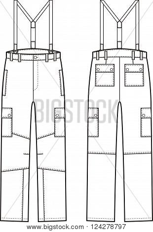 Vector illustration of work pants with braces. Front and back views