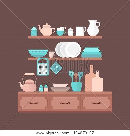 Vector set of kitchen utensils for cooking. llustration on the theme of cooking. Kitchen background.