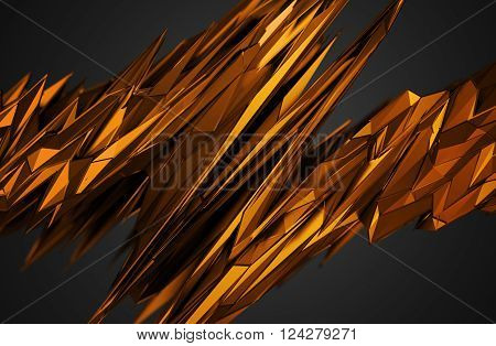 Abstract 3D rendering of chaotic surface. Background with futuristic polygonal shape. Noisy low poly glossy object.