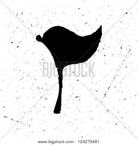The black isolated logo or poster of a flag in grunge style. Handwork, is suitable for the press on a t-shirt or just jewelry. Vector illustration