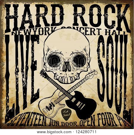 Hard rock Vector Acoustic Guitar Icon fashion style new trend