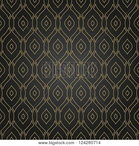 Seamless vector ornament. Modern geometric pattern with repeating wavy golden lines
