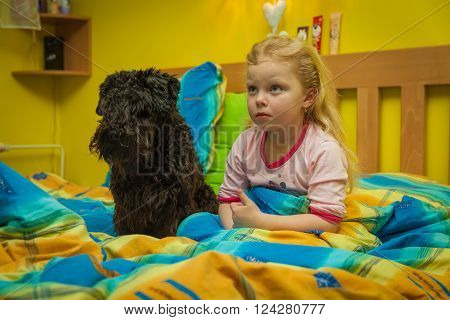 Small girl in sheets on a wooden bed going to sleep whith small black dog