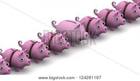 Full pig piggy bank is in the row of empty piggy banks wrap around strap and with bulging eyes on a white surface. 3D Illustration. Isolated