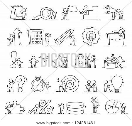 Business icons set of sketch working little people with lamp idea target. Doodle cute miniature scenes of workers. Hand drawn cartoon vector illustration for business design and infographic.