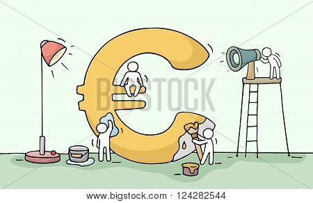 Sketch of euro sign with working little people. Doodle cute miniature of construction euro and preparing for the big profit. Hand drawn cartoon vector illustration for business design.