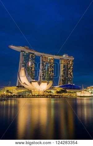 SINGAPORE CITY, SINGAPORE - FEBRUARY 22, 2016: Marina Bay Sands at night the largest hotel in Asia. It opened on 27 April 2010. Singapore on FEBRUARY 22, 2016