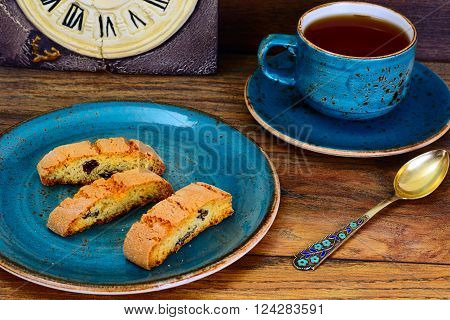 Kantuchchi with Almonds and Raisins, Biscotti ISokated on White. Studio Photo