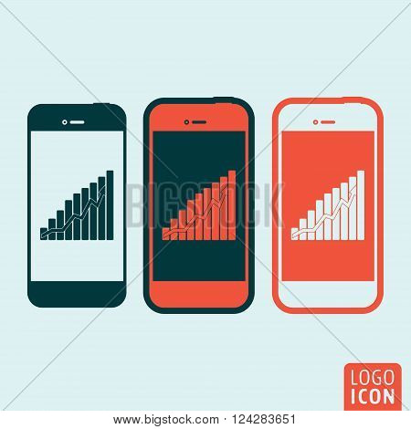 Smartphones icon. Smartphones symbol. Smartphones with graphic on screen icon isolated, minimal design. Vector illustration