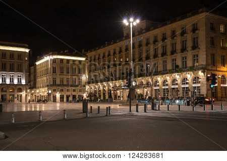 BORDEAUX FRANCE - MAY 06 2015: Grand Hotel de Bordeaux on Place de la Comedie