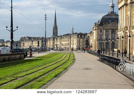 BORDEAUX FRANCE - MAY 06 2015: Urban view of Bordeaux. Bordeaux is a port city on the Garonne river in southwestern France