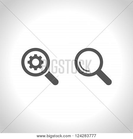 Magnifier glass sign icon. Zoom tool button. Navigation search, setting parameters symbol. Vector