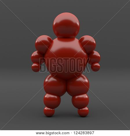 3D abstract Ballman character on a grey background
