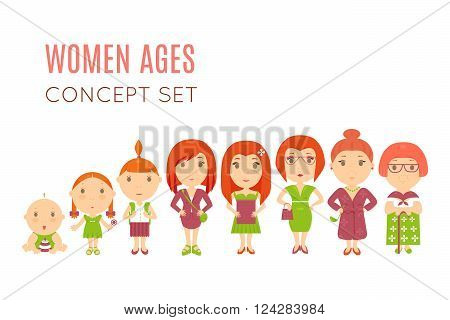 Set of cute pretty women age flat icons. Vector life aging stage illustration. Cartoon human generation. Feminine growing  process concept. Baby, child, kid, girl, wife mother old female daughter lady