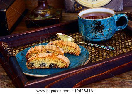 Kantuchchi with Almonds and Raisins, Biscotti ISokated on White. Studio Photo