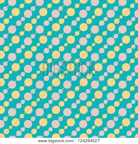 Vintage turquiose beaded seamless pattern. Vector illustration. Endless texture for wallpaper, fill, web page background, surface texture. Shabby geometric ornament.